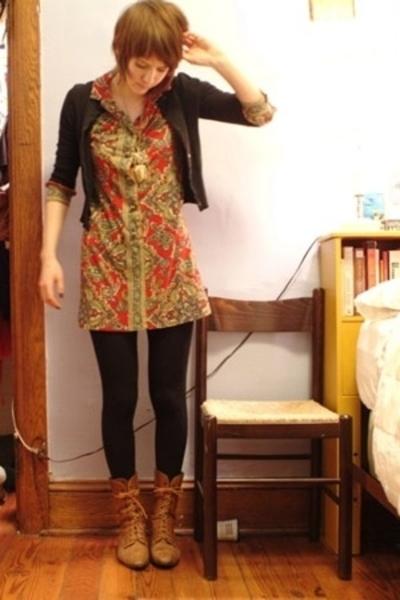 vintage dress - Target sweater - HUE tights - vintage boots - vintage necklace