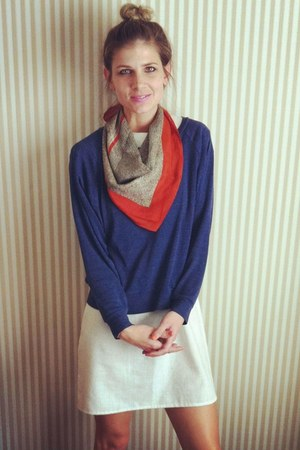 thrifted vintage scarf - thrifted vintage dress - American Apparel sweatshirt