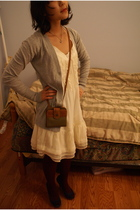 gray Target cardigan - white Marshalls dress - red HUE tights - blue Steve Madde