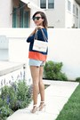 Light-blue-levis-shorts-navy-sugarlips-blouse-white-coach-heels