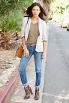brown Forever 21 boots - blue BDG jeans - heather gray Zara blazer