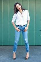 navy BDG jeans - light blue BDG blouse - brown Forever 21 pumps