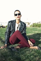 black vintage jacket - ivory Lulus sweater - maroon American Apparel pants