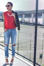 light blue Urban Outfitters jeans - brown Lulus jacket - ruby red vintage shirt