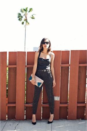 black calvin klein pumps - beige Urban Expressions bag - black Forever 21 pants