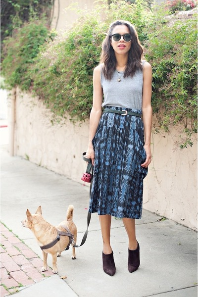 brown Prada boots - blue scout skirt - silver American Apparel t-shirt