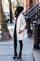white Zara coat - brown Forever 21 boots - black H&M dress