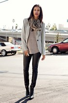 heather gray Zara blazer - black Topshop boots - black H&M leggings