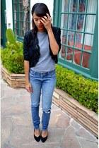 black vintage jacket - blue Wrangler jeans - black Dolce Vita pumps