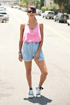sky blue Charlotte Ronson shorts - bubble gum LnA top - navy Converse sneakers
