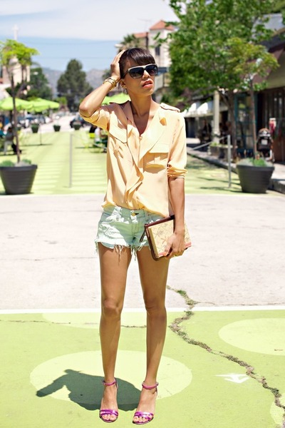 peach Sugarlips blouse - aquamarine Wildfox shorts - hot pink Marc Jacobs heels