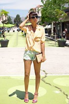 peach Sugarlips blouse - aquamarine Wildfox shorts - hot pink Marc Jacobs heels