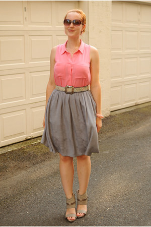 pink H&M bracelet - heather gray Lulus heels - heather gray thrifted skirt