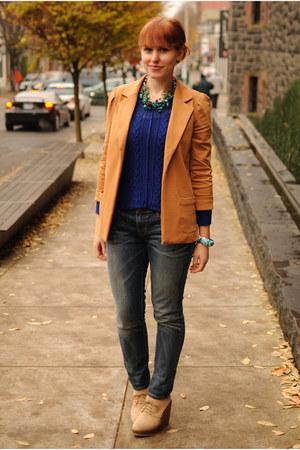camel Forever 21 blazer - beige wedge boots - blue skinny Levis jeans
