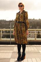 mustard vintage dress - blue Steve Madden boots - navy coat