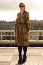 Blue-steve-madden-boots-mustard-vintage-dress-navy-coat