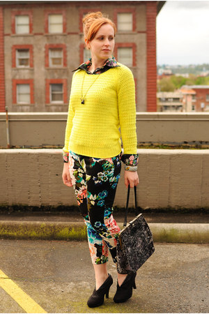 black floral thrifted blouse - yellow Gap sweater - black floral H&M pants