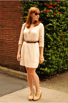 beige wedges boots - cream dress - purple Oscar de la Renta sunglasses