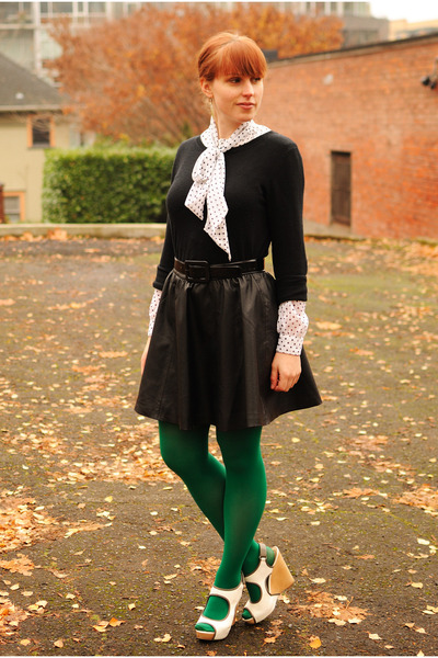Green American Apparel Tights Black Sweaters Black Faux Leather