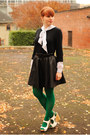 Black-sweater-green-american-apparel-tights-black-faux-leather-h-m-skirt