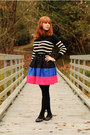 Black-striped-loft-sweater-black-flats-hot-pink-striped-forever-21-skirt