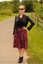 black Forever 21 jacket - purple paisley thrifted skirt