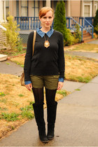 blue sheer shirt - black BDG boots - black long-sleeved sweater