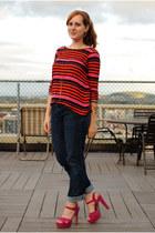 hot pink fuchsia Steve Madden heels - Gap jeans