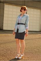 white striped top - light blue chambray top - navy striped skirt