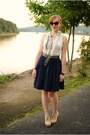 White-ruffled-blouse-navy-skirt-beige-wedges