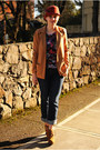 Brown-boots-navy-gap-jeans-brick-red-hat-camel-forever-21-blazer