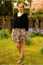 Black-gap-shirt-pink-floral-print-skirt-black-macys-cardigan