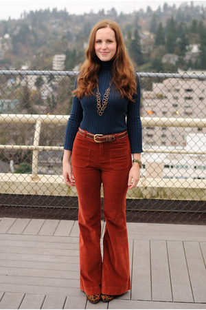 navy kohls top - brick red corduroy Anthropologie pants