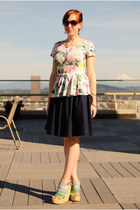 pink floral peplum H&M top - navy Anthropologie skirt