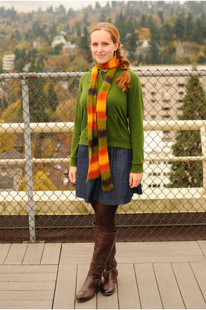 carrot orange made by me scarf - dark brown Jessica Simpson boots