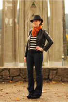 black hat - navy flare Gap jeans - black faux leather Forever 21 jacket