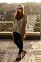 olive green Anthropologie vest - beige wedges Urban Outfitters boots