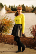 yellow Gap sweater - black suede BDG boots - black H&M skirt