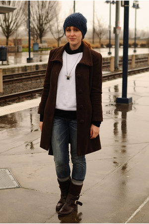 dark brown boots - dark brown Marks and Spencer coat - blue Levis jeans