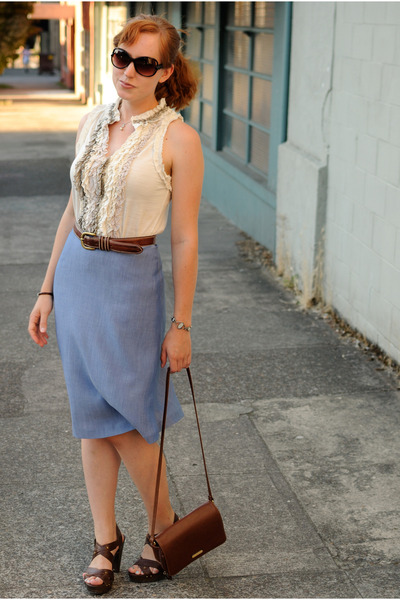 light blue skirt - off white top - dark brown Madden Girl heels