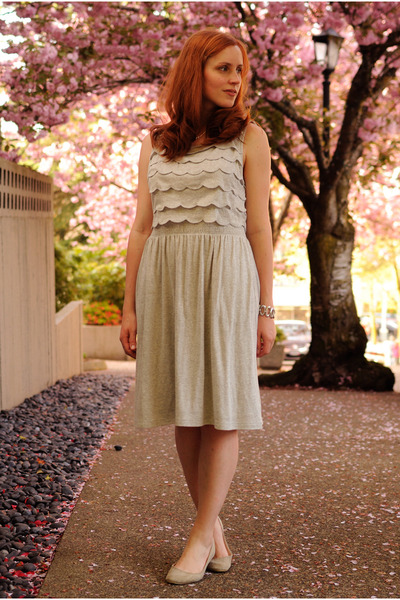 silver Anthropologie dress - beige Urban Outfitters flats