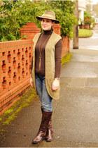 olive green vintage hat - dark brown knee-high boots Jessica Simpson boots