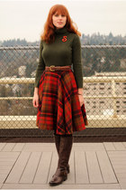 ruby red vintage skirt - dark brown knee-high Jessica Simpson boots