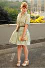 Green-vintage-dress-white-sam-edelman-wedges