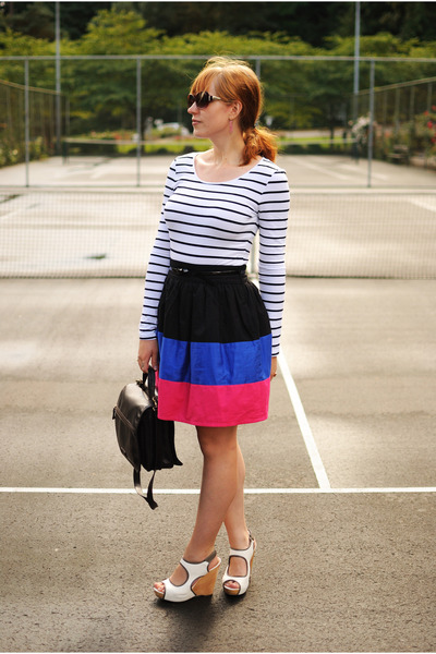 black Forever 21 skirt - white striped H&M shirt - white sam edelman wedges