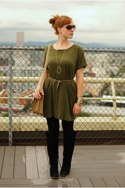Olive Green Ts Shirt Dress Dresses Black Suede Boots Black Leggings Tan Bags | u0026quot;What a ...