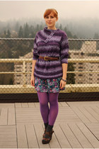 gray Gap socks - deep purple sweater - amethyst American Apparel tights