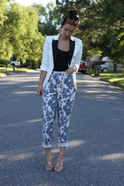 blue floral print vintage pants - white H&M blazer