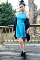 teal Zara dress - black platform Forever 21 boots - black Club Monaco blazer