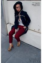 navy trench Oscar de la Renta coat - maroon chinos Zara pants